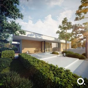 Bryła budynku oparta jest na układzie prostokątnych modułów składających się w kształt litery H. Projekt: Studio.O. organic design
