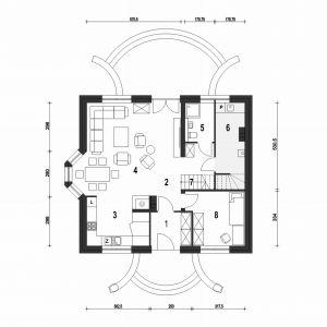 PARTER: 73,50 m2 1. wiatrołap – 5,00 m2 2. hol – 8,60 m2 3. kuchnia + spiżarnia – 10,40 m2 4. salon + jadalnia – 30,70 m2 5. łazienka – 4,20 m2 6. kotłownia + pralnia* – 8,60 m2 7. schody – 3,60 m2 8. pokój – 11,00 m2Dom Dla Ciebie 1 (B). Projekt: arch. Tomasz Pisaniak, arch. Maja Klimowicz