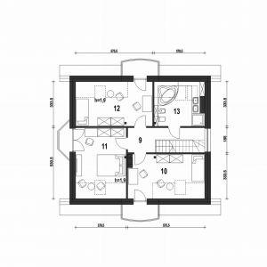PODDASZE: 60,20 m2 (76,30 m2) 1. przedpokój – 7,10 m2 2. sypialnia – 14,70 m2 (18,70 m2) 3. sypialnia – 15,90 m2 (19,80 m2) 4. sypialnia – 14,50 m2 (18,90 m2) 5. łazienka – 8,00 m2 (11,80 m2) *pomieszczenia niewliczone do powierzchni użytkowej Dom Dla Ciebie 1 (B). Projekt: arch. Tomasz Pisaniak, arch. Maja Klimowicz