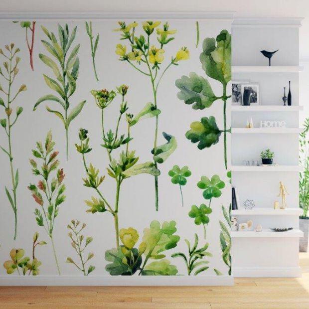 Ściany w salonie - tapety z wiosennym motywem