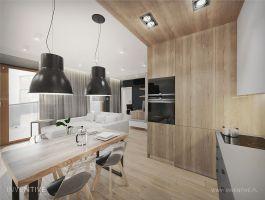 Otwarta kuchnia z jadalnią. Projekt: Artur Jóźwik / INVENTIVE studio