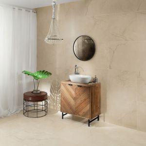 Płyty ceramiczne z kolekcji Monolith Massa o wzorze piaskowca. Fot. Tubądzin