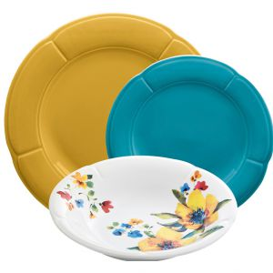 Komplet obiadowy 18-elementowy Clori Yellow-Blue-Lily, cena: 279,90 zł. Fot. Westwing