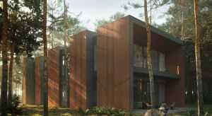 Dom blisko natury to wymarzone miejsce dla wielu właścicieli mieszkań w stolicy. W podwarszawskim sosnowym lesie, na wąskiej, ale bardzo długiej działce, powstanie właśnie taki budynek.