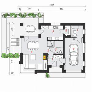PARTER: 69,17 m2 (71,67 m2) 1. wiatrołap – 5,14 m2 2. hol – 1,84 m2 (2,93 m2) 3. toaleta – 2,26 m2 (3,67 m2) 4. salon + jadalnia – 25,07 m2 5. kuchnia – 9,64 m2 6. spiżarnia – 1,82 m2 7. kotłownia – 4,39 m2 8. garaż – 19,01 m2