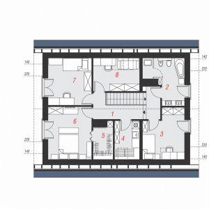 PODDASZE: 63,69 m2 (80,29 m2) 1. hol i schody – 11,75 m2 (11,75 m2) 2. łazienka – 7,68 m2 (9,37 m2) 3. pokój – 10,36 m2 (12,05 m2) 4. pralnia – 4,16 m2 (6,00 m2) 5. garderoba – 2,72 m2 (4,18 m2) 6. pokój z garderobą – 11,18 m2 (14,42 m2) 7. pokój – 9,67 m2 (12,90 m2) 8. pokój – 6,17 m2 (9,62 m2)