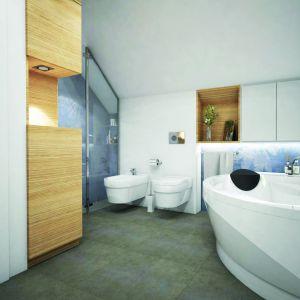W nowoczesnej łazience znalazło się miejsce zarówno na wannę, jak też prysznic. Dom w Zdrojówkach. Fot. Archon +