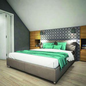 Biel, szarości i drewno zostały zastosowane również w sypialni. Wnętrze ożywia turkus. Dom w Zdrojówkach. Fot. Archon +