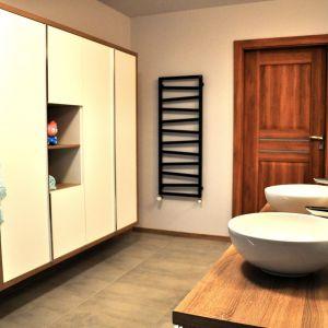 Dom na mazurskiej wsi - łazienka na piętrze. Projekt i zdjęcia: Alicja Łotysz-Pogorzelska (Wnętrza i ogrody Amaltea)