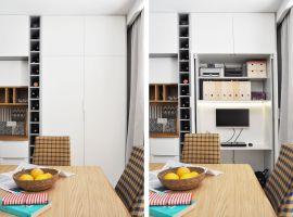 Część biurowa została zaprojektowana w ten sposób, aby można ją było całkowicie ukryć. W ten sposób poszczególne strefy otwartej przestrzeni dziennej nie wchodzą sobie w paradę, a domownicy mogą spokojnie relaksować się po pracy bez wiszącego nad głową widma służbowych obowiązków. Projekt i zdjęcia: Dominika Wojciechowska / NIDUS interiors