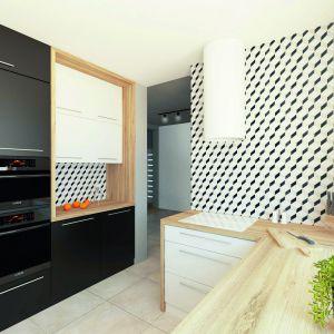 W kuchni zaprojektowano modne płytki z efektem 3D. Dom: Ambrozja 3. Projekt: arch. Tomasz Sobieszuk, Domy w Stylu
