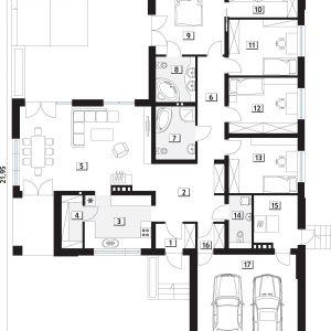PARTER: 158,48 m2  1. wiatrołap – 3,13 m2  2. hol – 12,77 m2  3. kuchnia – 11,48 m2  4. spiżarnia – 3,53 m2  5. salon/jadalnia – 35,83 m2  6. korytarz/komunikacja – 8,92 m2  7. łazienka – 6,79 m2  8. łazienka – 5,78 m2  9. sypialnia – 14,11 m2  10. garderoba – 5,76 m2  11. sypialnia – 12,47 m2  12. sypialnia – 12,43 m2  13. sypialnia – 12,35 m2  14. łazienka – 3,87 m2  15. kotłownia* – 7,15 m2  16. garderoba – 2,11 m2  17. garaż – 33,72 m2  *pomieszczenia niewliczone do powierzchni użytkowej