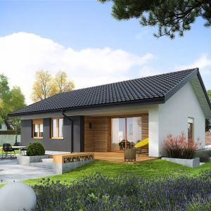 Od strony ogrodowej dom jest harmonijnie połączony z otoczeniem i efektownie ozdobiony ciemnym grafitem i drewnem, dzięki czemu prezentuje się intrygująco i niebanalnie. Dom Mini 3. Fot. Pracownia Projektowa Archipelag