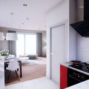 W kuchni znalazło się też miejsce na czarne akcenty w postaci piekarnika i okapu. Dom Mini 3. Fot. Pracownia Projektowa Archipelag
