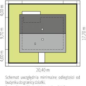 Usytuowanie domu na działce. Dom Mini 3. Fot. Pracownia Projektowa Archipelag