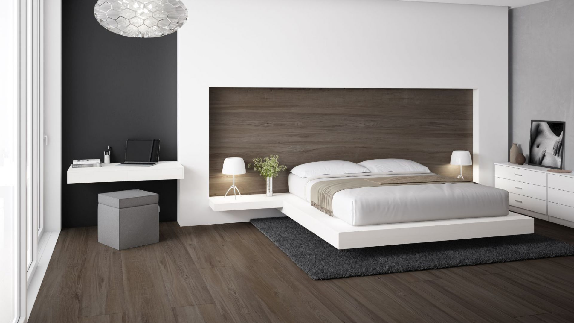 Płytki w sypialni, kolekcja Slabs Junoon brown. Fot. Apavisa