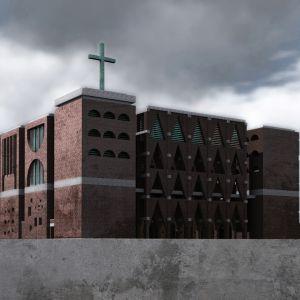 Kościół na osiedlu Nowe Żerniki, Wrocław, projekt konkursowy. Projekt: Tomasz Sachanowicz