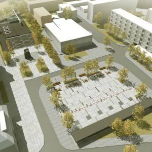 Plac Wolności w Nowogardzie, projekt konkursowy. Projekt: Projektor Architekci + Tomasz Sachanowicz