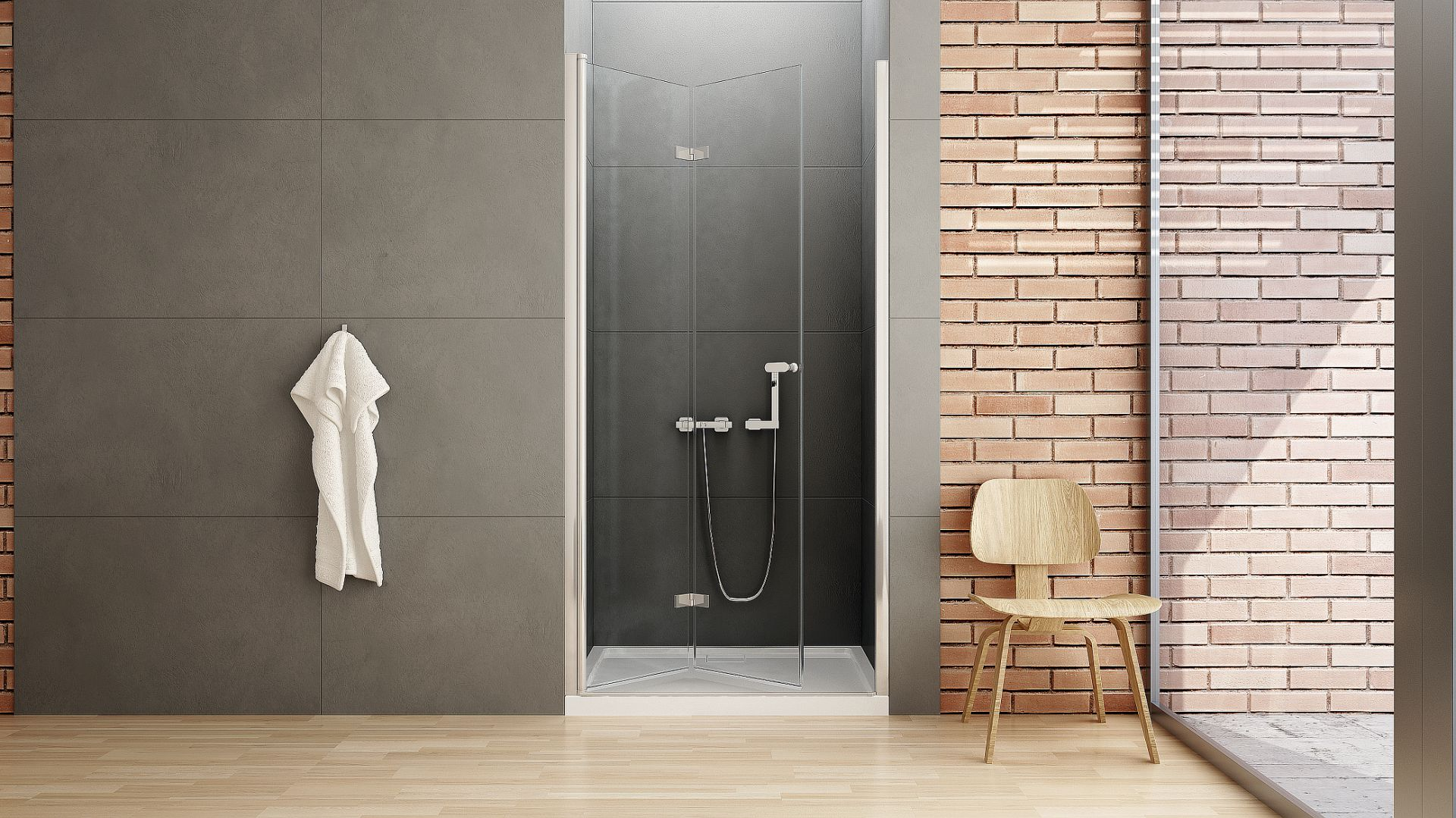 Drzwi wnękowe Soleo łamane składane do ściany. Bezpieczne szkło hartowane 6 mm z powłoką Active Shield, w rozmiarach 70x195; 80x195x 90x195; 100x195 cm, a także w opcji na wymiar. Cena: od 2.083,62 zł. Dostępne w ofercie firmy New Trendy. Fot. New Trendy