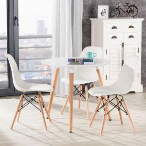 Wnętrza w stylu skandynawskim, na zdjęciu: stół Bergen White. Fot. Dekoria.pl