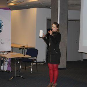Katarzyna Tworek, przedstawiciel marki Aurora Technika Świetlna. Studio Dobrych Rozwiązań, 11.04 Bielsko-Biała. Fot. Wojciech Napora