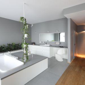Łazienka przy sypialni. Projekt: Konrad Grodziński. Fot. Bartosz Jarosz