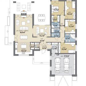 PARTER: 172,00 m2 1. wiatrołap – 6,00 m2 2. garderoba – 2,30 m2 3. hol – 6,40 m2 4. pokój rekreacyjny – 15,20 m2 5. kuchnia – 14,50 m2 6. spiżarnia – 1,80 m2 7. pokój dzienny + jadalnia – 36,00 m2 8. hol – 12,30 m2 9. wc – 2,40 m2 10. pralnia – 2,50 m2 11. łazienka – 3,50 m2 12. garderoba – 4,00 m2 13. pokój – 13,90 m2 14. pokój – 14,30 m2 15. pokój – 11,20 m2 16 łazienka – 6,50 m2 17. pokój – 13,90 m2 18. pom. gospodarcze – 5,30 m2 19. garaż* – 37,80 m2 *pomieszczenia niewliczone do powierzchni użytkowej