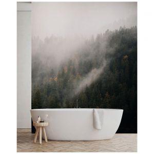 Fototapeta Las we mgle z widokiem. Do łazienek polecane są fototapety zabezpieczone laminatem. Cena w zależności od wymiaru. Dostępna w ofercie firmy Pixers. Fot. Pixers