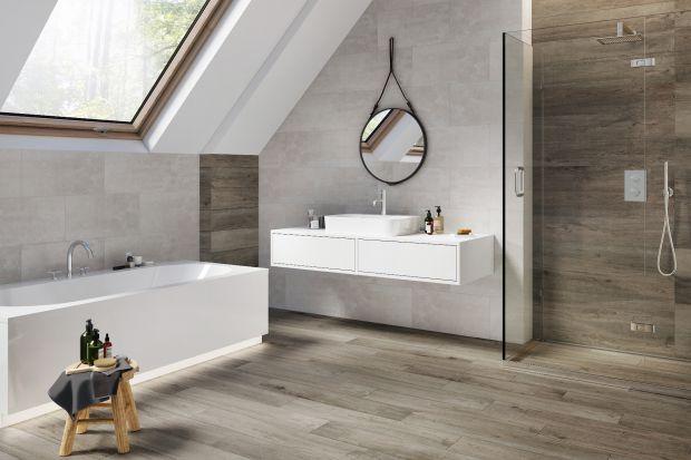 Płytki do łazienki - beton i drewno w modnym duecie