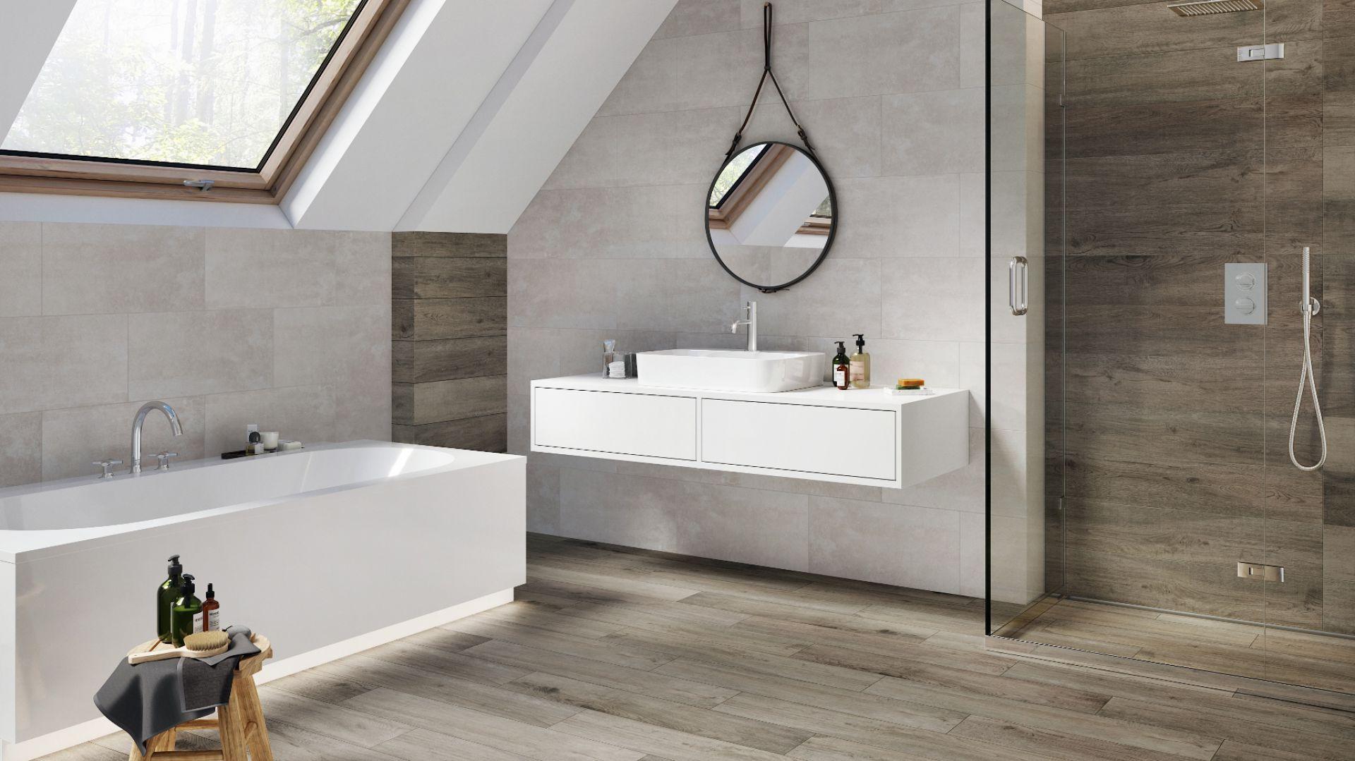 Płytki Do łazienki Beton I Drewno W Modnym Duecie