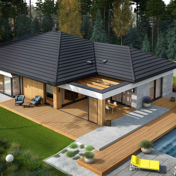 Przestronny dom parterowy z pięknym tarasem - zobacz projekt!