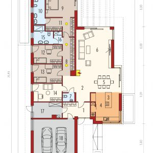 Rzut parteru. Dom Karen G2. Projekt: arch. Artur Wójciak. Fot. Pracownia Projektowa Archipelag
