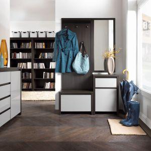 Nowoczesna kolekcja Kaspian oferuje m.in. szafki z uchylnym frontem, otwarta, z wieszakiem i lustrem, komody, szafy. Fot. Black Red White