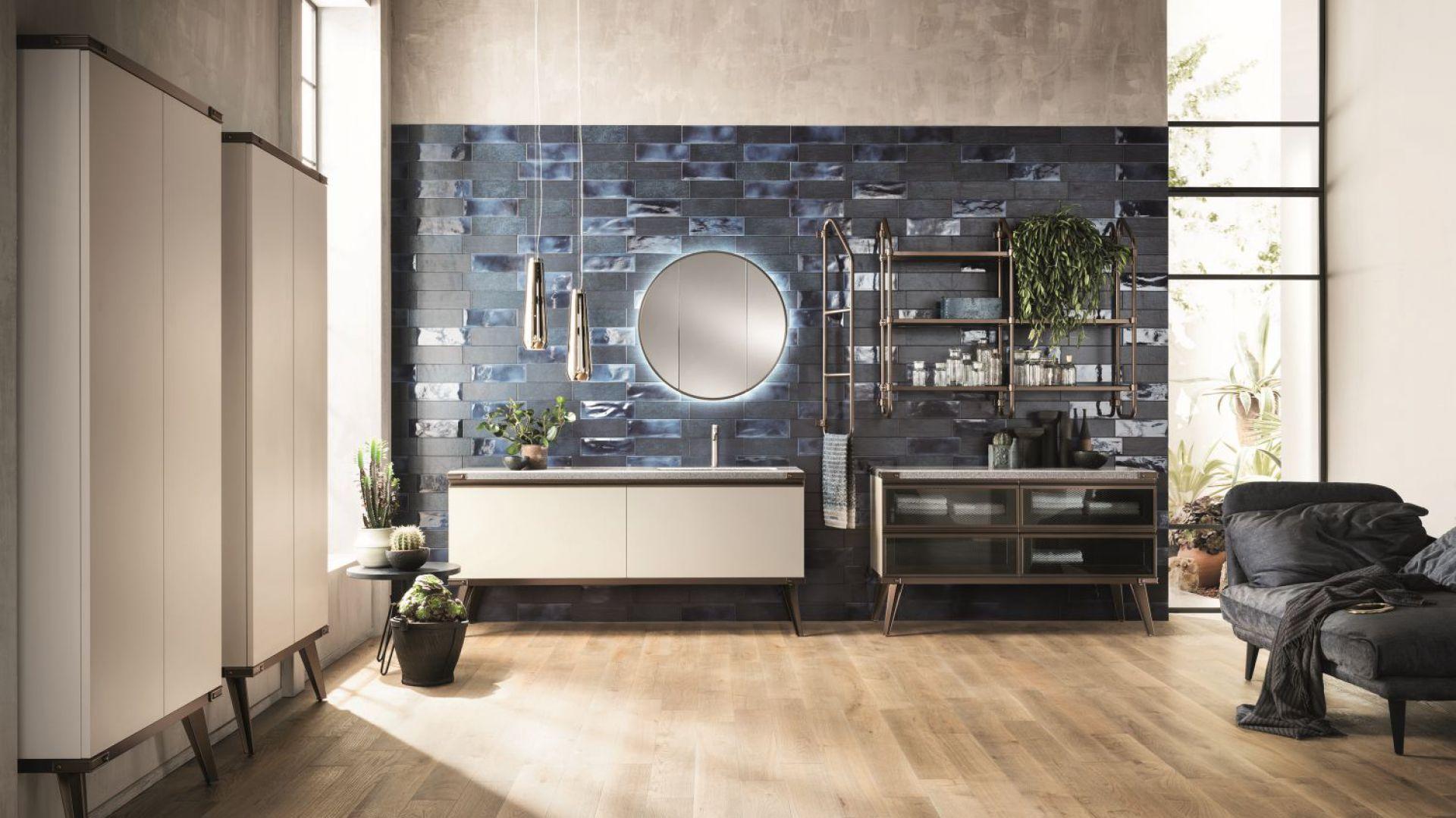 Nową odsłonę koncepcji Diesel Open Workshop charakteryzuje industrialna stylistyka i połączenie metalu z konglomeratem Hi-Macs. Fot. Scavolini