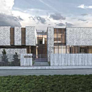 Kamienny dom w otulinie Puszczy Kampinoskiej - widok od frontu. Projekt: Inter Arch Architekci