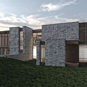 Kamienny dom w otulinie Puszczy Kampinoskiej - widok na tył budynku. Projekt: Inter Arch Architekci