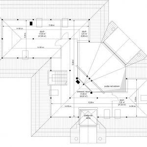 Rzut podasza. Dom Willa Parkowa 6. Projekt: arch. Michał Gąsiorowski. Fot. MG Projekt