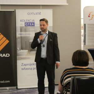 Studio Dobrych Rozwiązań we Wrocławiu 9 maja 2018 r. Piotr Wychowaniec z firmy Cersanit. Fot. Publikator