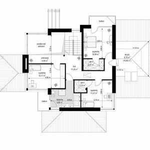 Rzut piętra. Dom z widokiem 6. Projekt: arch. Michał Gąsiorowski. Fot. MG Projekt