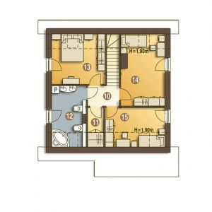 Poddasze:42,8 m² (55,1) m² 10. Przedpokój3,2(3,2) m² 12. Łazienka8,3(10,5) m² 13. Sypialnia10,3(13,7) m² 14. Sypialnia12,9(15,7) m² 15. Sypialnia8,1(12,0) m² 11. Garderoba (strych)* * Pomieszczenia nie wliczone do powierzchni użytkowej. Dom Turkawka. Projekt: arch. Maja Klimowicz. Fot. Dom Dla Ciebie Pracownia Projektowa Archeco