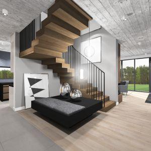Hol i schody ulokowane nieco na uboczu taż zaprojektowano z pomysłem. Projekt: TWORZYWO studio. Fot. TWORZYWO studio