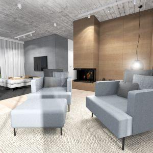 Przestronne wnętrze o przyjemnych proporcjach, podzielone na strefy według rodzaju spędzania w nim czasu. Projekt: TWORZYWO studio. Fot. TWORZYWO studio