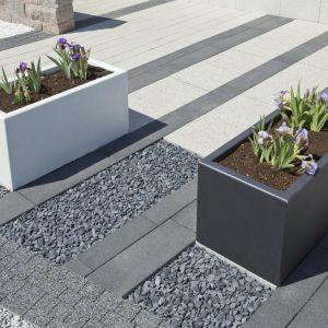 Prostokątne donice betonowe o regularnej formie inspirowanej kształtem klasycznej kostki sprawdzą się jako wolno stojące elementy na przydomowych podjazdach. Fot. Bruk-bet