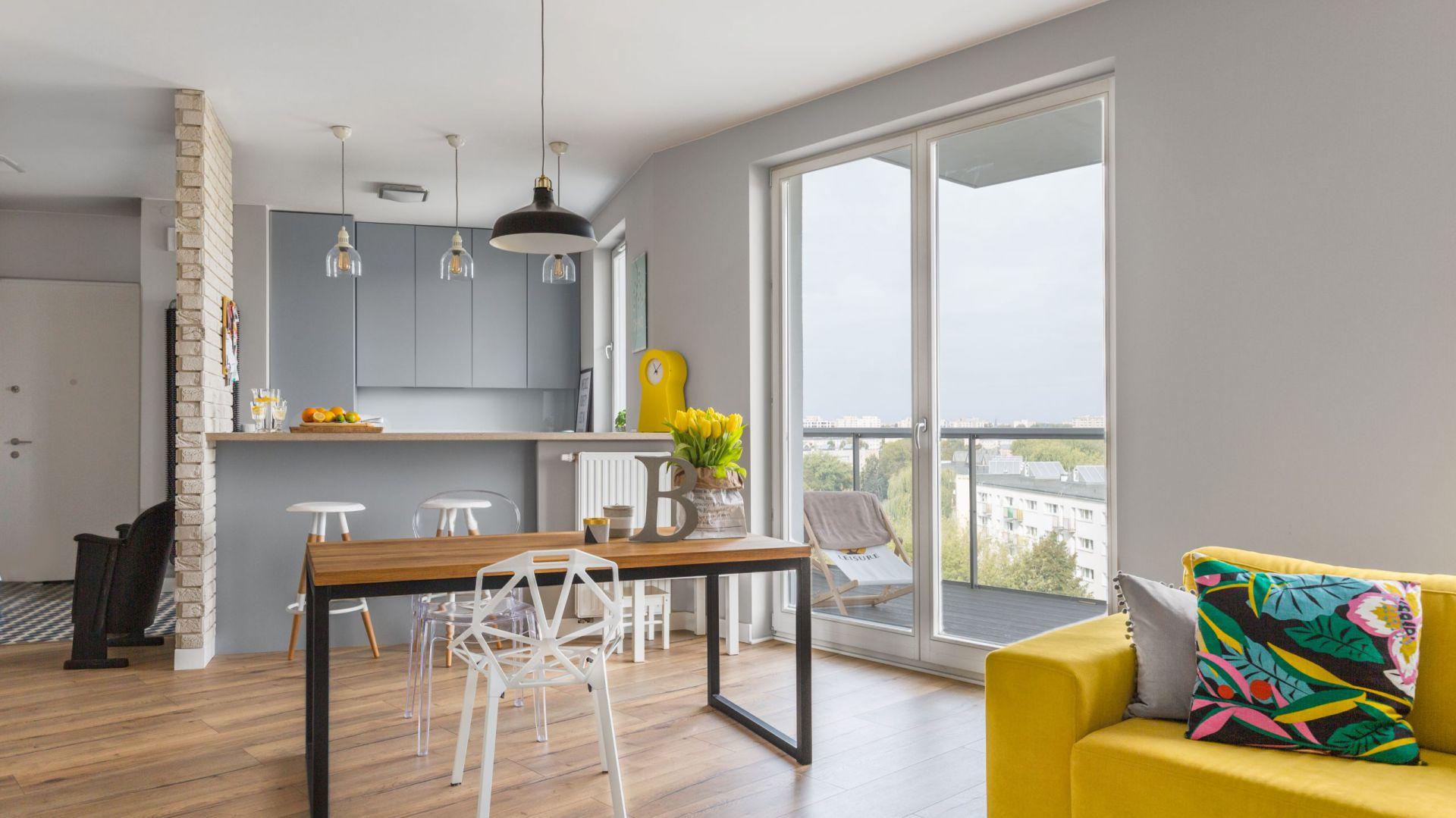 Salon z kuchnią otwartą. Projekt: Decoroom. Fot. Marta Behling / Pion Poziom Fotografia Wnętrz
