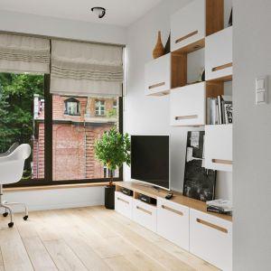 Niewielki aneks kuchenny, szafa, łóżko, biurko i mała łazienka, dwuosobowa sofa z funkcją spania a wszystko na kilkunastu metrach kwadratowych. Fot. Mikroapartamenty Gdański Oxford