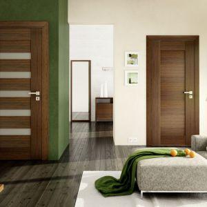 Drzwi Sempre z dekoracyjnymi poziomymi przeszkleniami. Fot. Pol-Skone