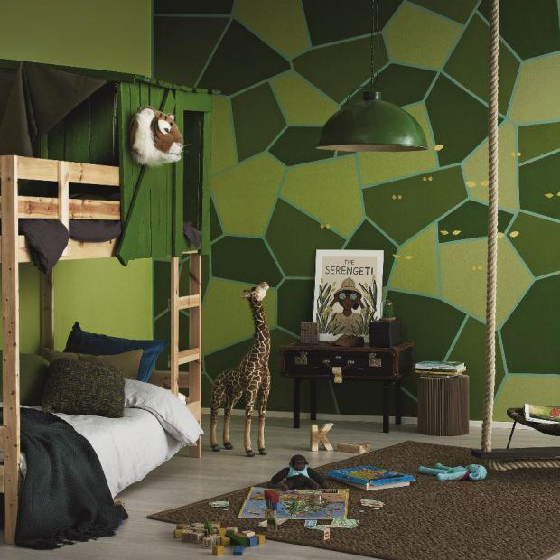 Kolorowa dżungla w pokoju dziecka - farby w odcieniach zieleni