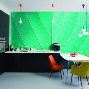 Fototapeta winylowa Leaf Detail na podłożu fizeliny, czyli włókniny syntetycznej, jest szczególnie odporna na wilgotność powietrza i podwyższoną temperaturę. Doskonale nadaje się do dekoracji ścian w kuchni. Fot. Fototapeta4u.pl