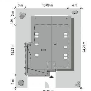 Usytuowanie domu na działce. Dom Otwarty 4. Projekt: arch. Michał Gąsiorowski. Fot. MG Projekt