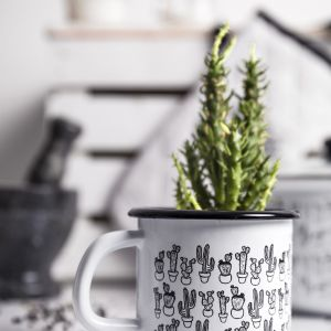 Emaliowane kubki - piękne wzory i kolory. Florina Cactus. Fot. Florina